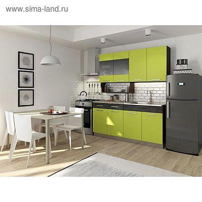 Кухонный гарнитур Алиса, 1600 мм, цвет лайм