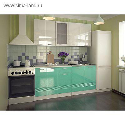 Кухонный гарнитур Волна, 1800 мм, цвет Белый металлик/Бирюза