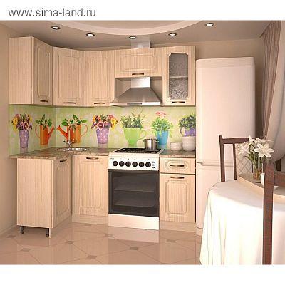 Кухонный гарнитур, грецкий орех 12, 1100 × 2000 мм, левый
