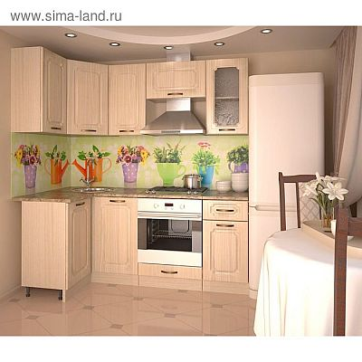 Кухонный гарнитур, грецкий орех 12а, 1100 × 2000 мм, левый
