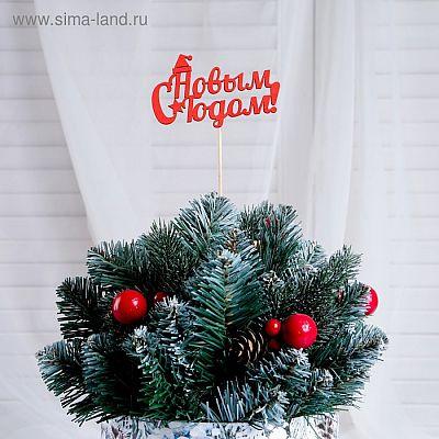 """Топпер """"С Новым Годом, с колпаком"""", 10х6см, красный Дарим Красиво"""