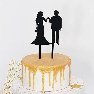 Топпер на торт «Вдвоем», 13×18 см, цвет чёрный