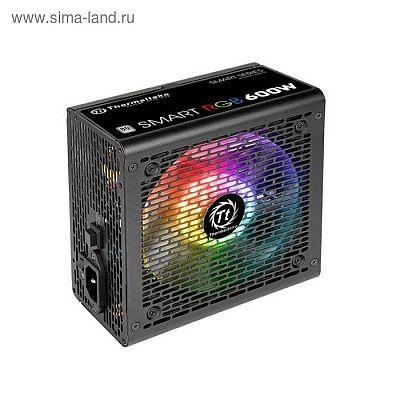 Блок питания Thermaltake ATX 600W Smart RGB 600 80+ (24+4+4pin) APFC 120mm fan color