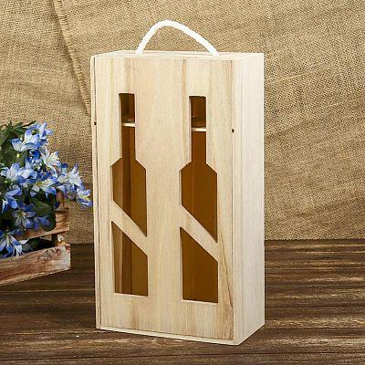 Шкатулка под роспись под 2 бутылки «Виноделие», дерево, 35 × 19,5 × 10 см