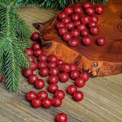 """Фигурка для поделок и декора """"Шар"""", набор 55 шт., размер 1 шт. 1 см, цвет красный"""