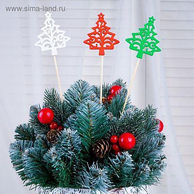 """Топпер """"Ёлка со звездой"""" разноцветный (красный, белый, зелёный), микс Дарим Красиво"""