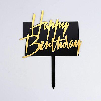 Топпер «С днём рождения», прямоугольный, цвет чёрно-золотой