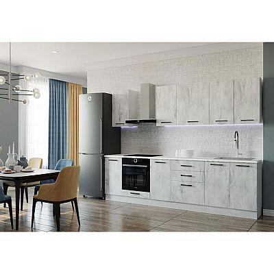 Кухонный гарнитур Пайн 2832х600 Белый/Мрамор Марквина белый/ Пайн