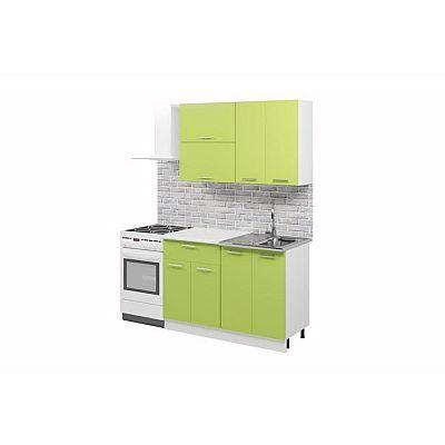 Кухонный гарнитур «Лилия», 1.2 м, ЛДСП, без мойки, цвет белый / лайм
