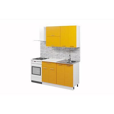 Кухонный гарнитур «Лилия», 1.2 м, ЛДСП, без мойки, цвет белый / манго