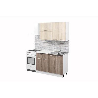 Кухонный гарнитур «Лилия», 1.2 м, ЛДСП, без мойки, цвет белый/дуб сонома светлый/тёмный