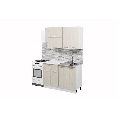 Кухонный гарнитур «Лилия», 1.2 м, ЛДСП, без мойки, цвет белый / ясень шимо светлый