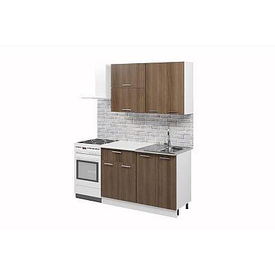 Кухонный гарнитур «Лилия», 1.2 м, ЛДСП, без мойки, цвет белый / ясень шимо тёмный