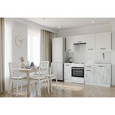 Кухня Бланка 2032х600 Белый/Мрамор Марквина белый/Жемчуг,Пайн