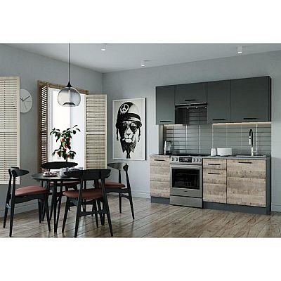 Кухня Гранж 2032х600 Антрацит/Детройт/Гранж,Антрацит