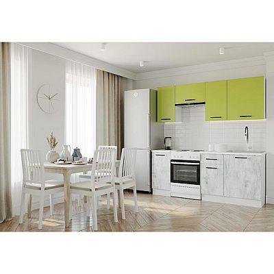 Кухня Гарда 2032х600 Белый/Мрамор Марквина белый/Лайм,Пайн