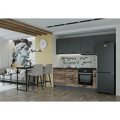 Кухня Гранж 2566х600 Антрацит/Детройт/Антрацит,Гранж