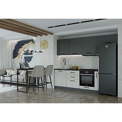 Кухонный гарнитур Лофт 2566х600 Антрацит/Детройт/Антрацит,Жемчуг