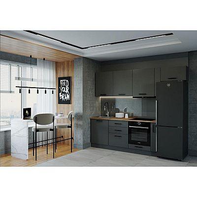 Кухня Антрацит 2566х600 Антрацит/Дуб Вотан/Антрацит