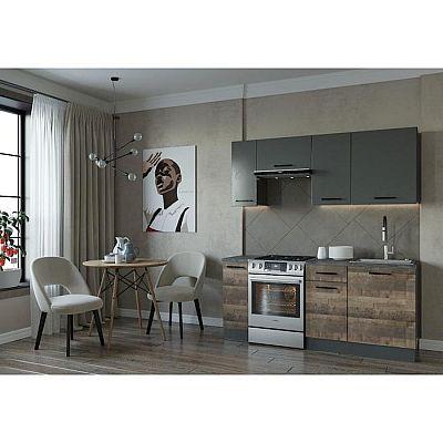 Кухня Гранж 1832х600 Антрацит/ Дуб Вотан/ Гранж,Антрацит