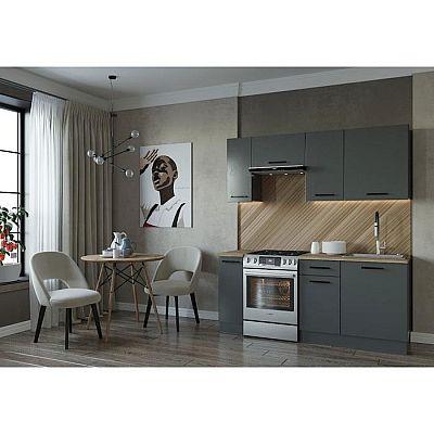 Кухня Антрацит 1832х600 Антрацит/ Дуб Вотан/ Антрацит