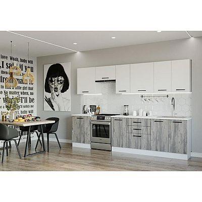 Кухонный гарнитур Руанда 3032х600 Белый/ Мрамор Марквина белый/ Жемчуг,Руанда