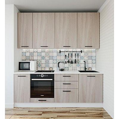 Кухонный гарнитур Шимо 2232х600 Белый/Мрамор Марквина белый/Ясень шимо светлый