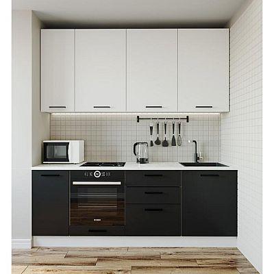 Кухня Графика 2232х600 Белый/Мрамор Марквина белый/Жемчуг,Чёрный