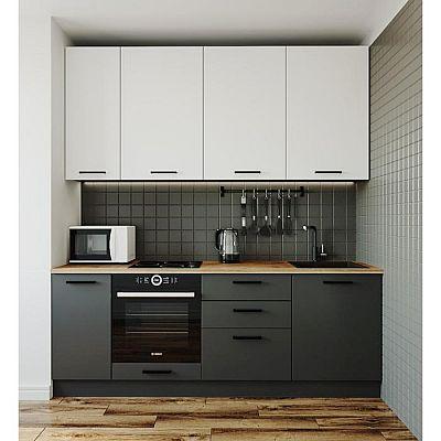 Кухня Вегас 2232х600 Антрацит/Дуб Вотан/Жемчуг, Антрацит