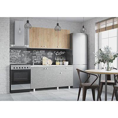 Кухонный гарнитур Поинт 1500, Бетон и золото фасад/ Белый корпус