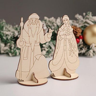 "Сувенир ""Дед Мороз с птичкой+Снегурочка с зайчиком"", 7,5х13х6 см"