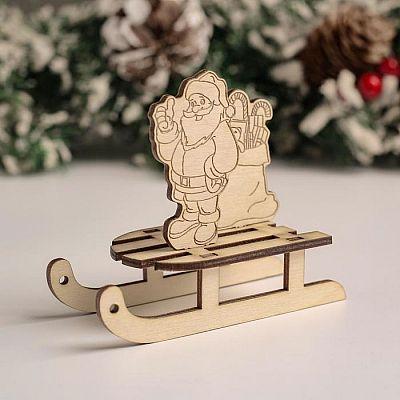 """Сувенир Санки """"Санта+подарок"""", 10х8,5х4,7 см"""