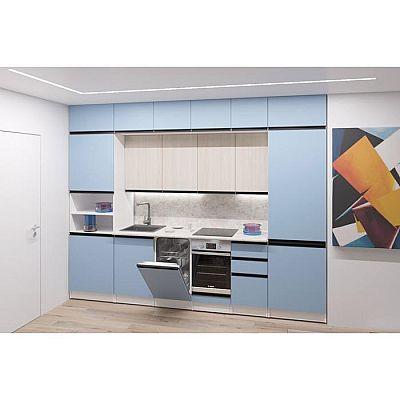 Кухонный гарнитур Соната люкс 3000х600 Ясень шимо светлый,Капри/Белый