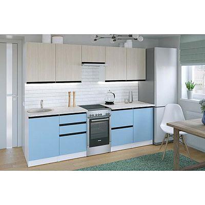 Кухонный гарнитур Соната мега 2500х600 Ясень шимо светлый,Капри/Белый