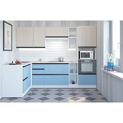 Кухонный угловой гарнитур Соната мега прайм 2700х1500 Ясень шимо светлый,Капри/Белый