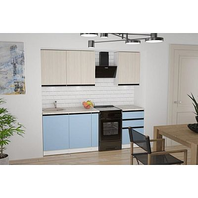 Кухонный гарнитур Соната стандарт 1600х600 Ясень шимо светлый,Капри/Белый