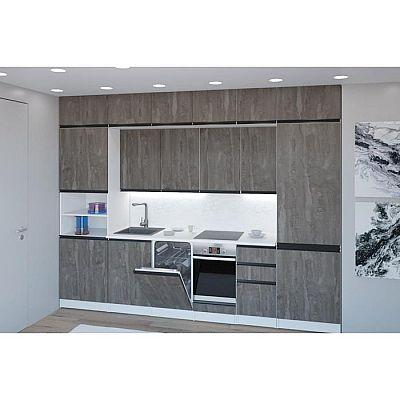 Кухонный гарнитур Ноктюрн люкс 3000х600 Бетон темный/Белый