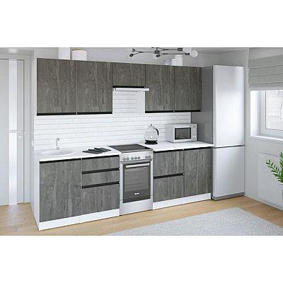 Кухонный гарнитур Ноктюрн мега 2500х600 Бетон темный/Белый