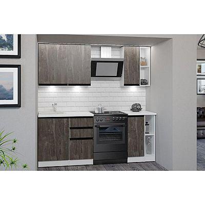 Кухонный гарнитур Ноктюрн медиум 1400х600 Бетон темный/Белый