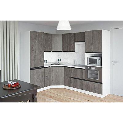 Кухонный угловой гарнитур Ноктюрн оптима 2400х1800 Бетон темный/Белый