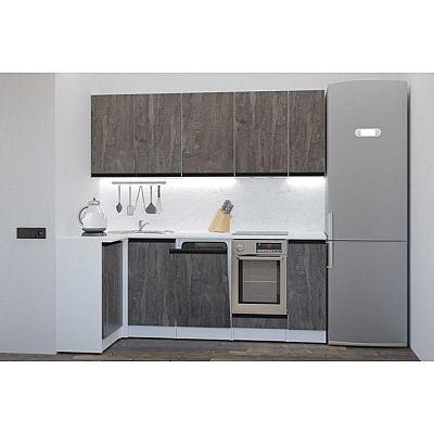Кухонный угловой гарнитур Ноктюрн прайм 2000х1100 Бетон темный/Белый