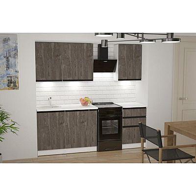 Кухонный гарнитур Ноктюрн стандарт 1600х600 Бетон темный/Белый