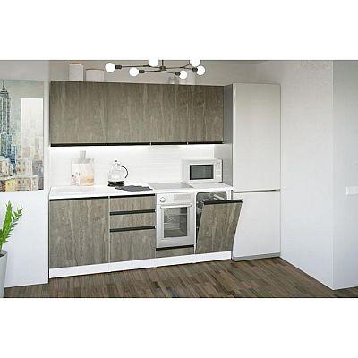 Кухонный гарнитур Ноктюрн ультра 2000х600 Бетон темный/Белый