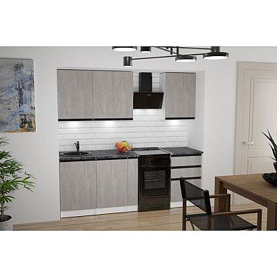 Кухонный гарнитур Сюита стандарт 1600х600 Бетон светлый/Белый