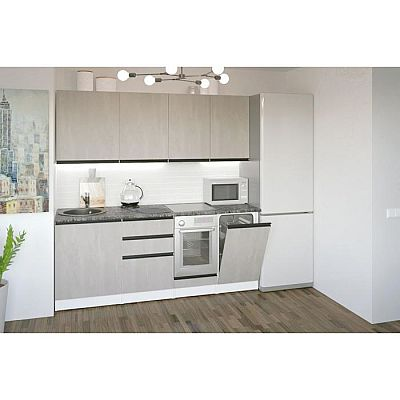 Кухонный гарнитур Сюита ультра 2000х600 Бетон светлый/Белый