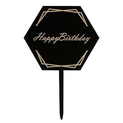Топпер «С днём рождения», цвет чёрный