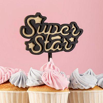 """Топпер двухслойный деревянный """"Super Star"""", черный, золотой"""