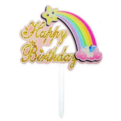 Топпер «С днём рождения», радуга, цвет розовый