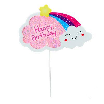 Топпер «С днём рождения», облако, цвет розовый