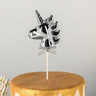 Топпер на торт«Единорог», 21×7см, цвет серебристый